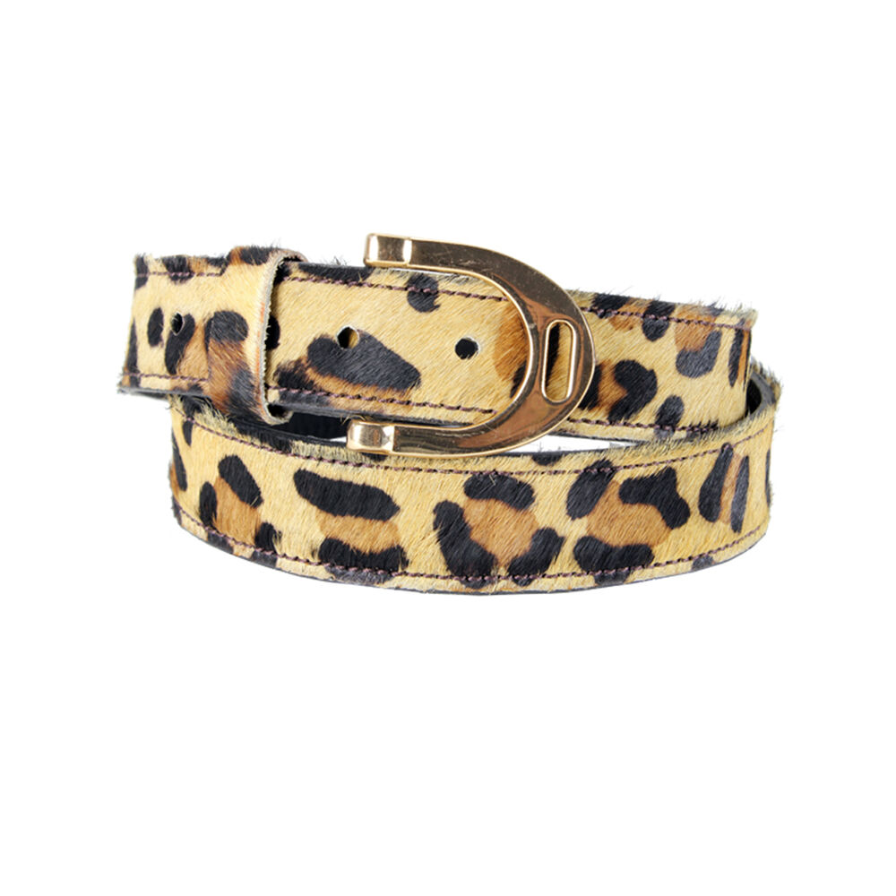Mink Horse Print Belt with Stirrup Buckle