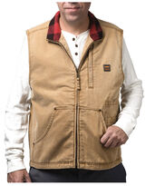 man in brown button up work vest