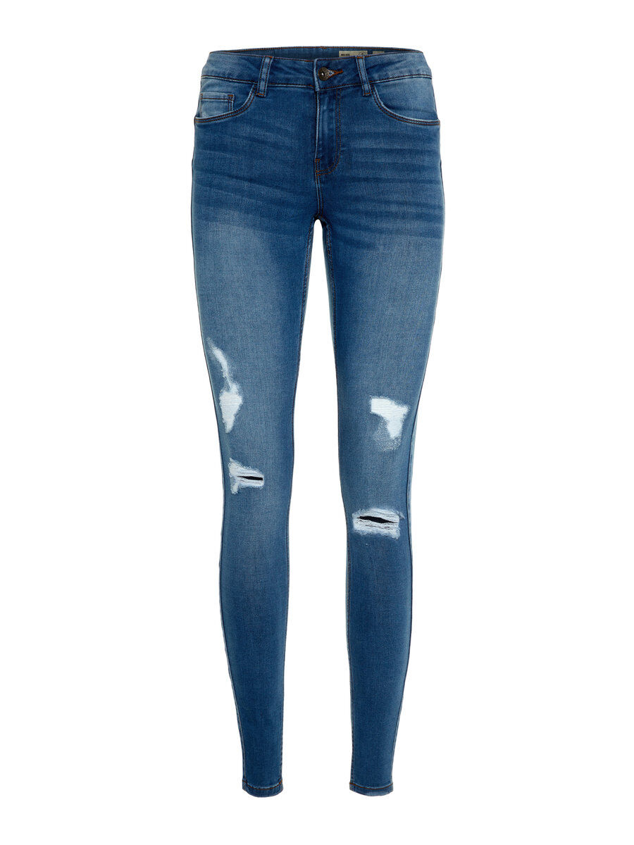 VERO MODA Destroyed Shape Up Slim Fit Jeans Damen Blau