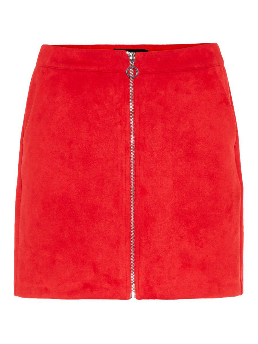 VERO MODA Wildlederimitat Rock Damen Rot