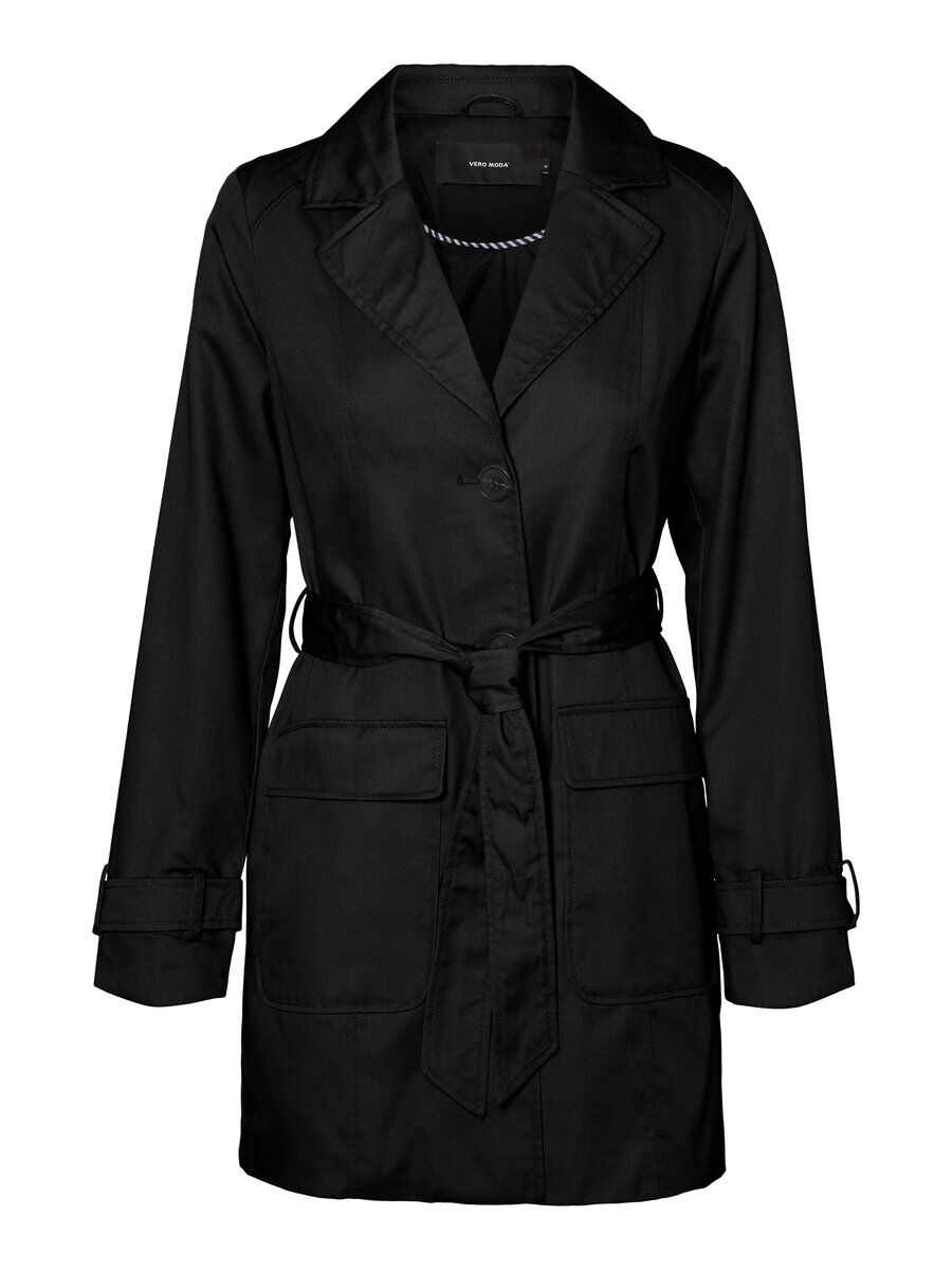 3/4 Trenchcoat Dames Zwart