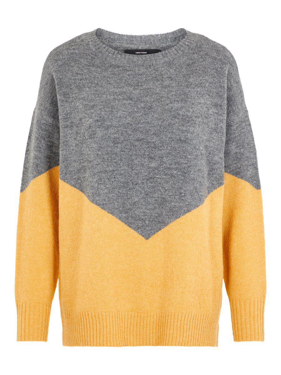 VERO MODA Colourblocking Strickpullover Damen Grau