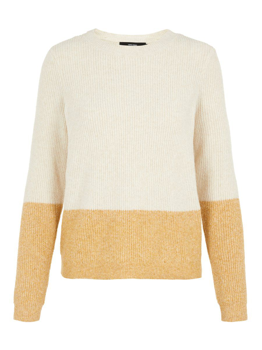 VERO MODA Gerippter Colourblocking Strickpullover Damen Beige
