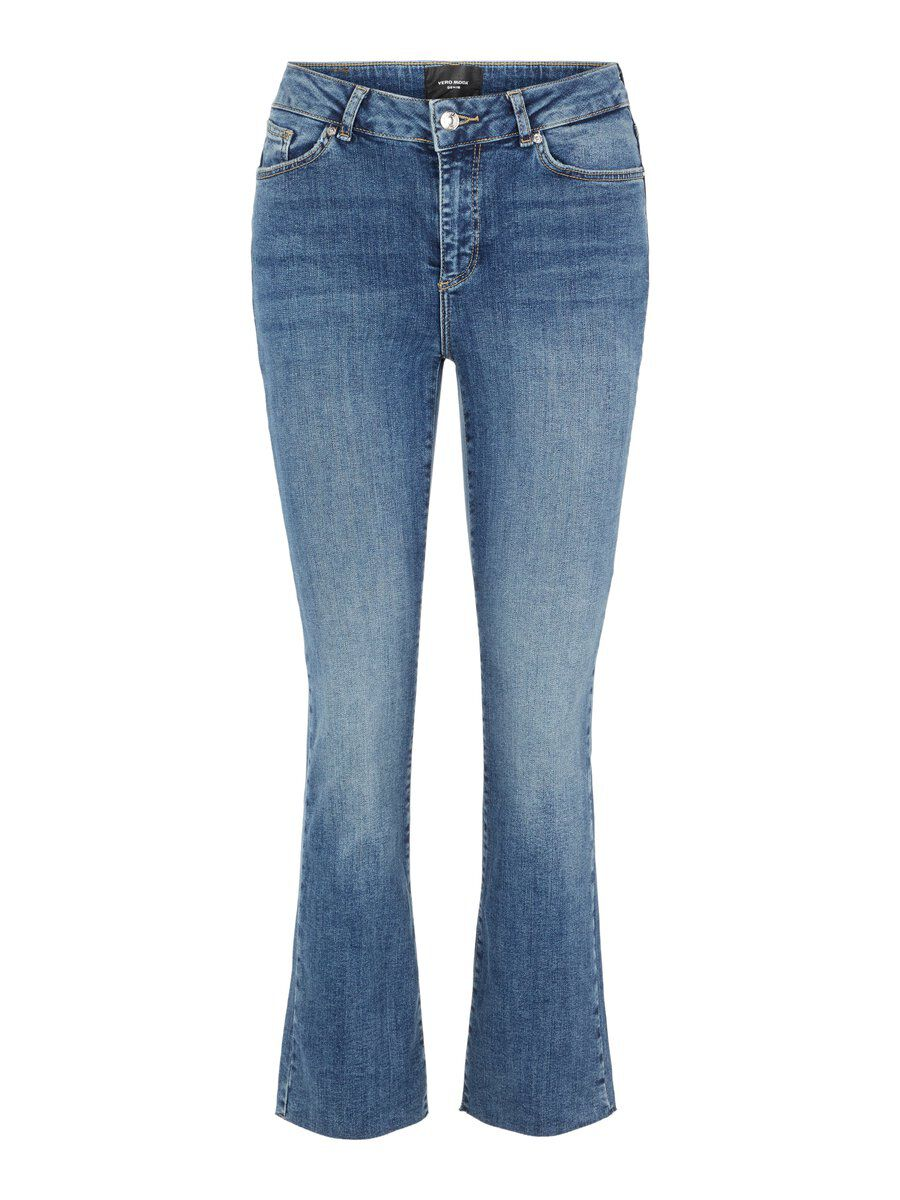 VERO MODA Vmsheila Cropped Kick Flare Normal Waist Slim Fit Jeans Damen Blau