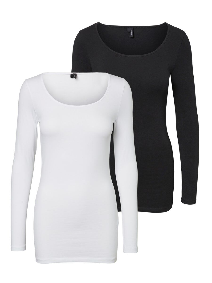 2-pack Shirt Met Lange Mouwen Dames White