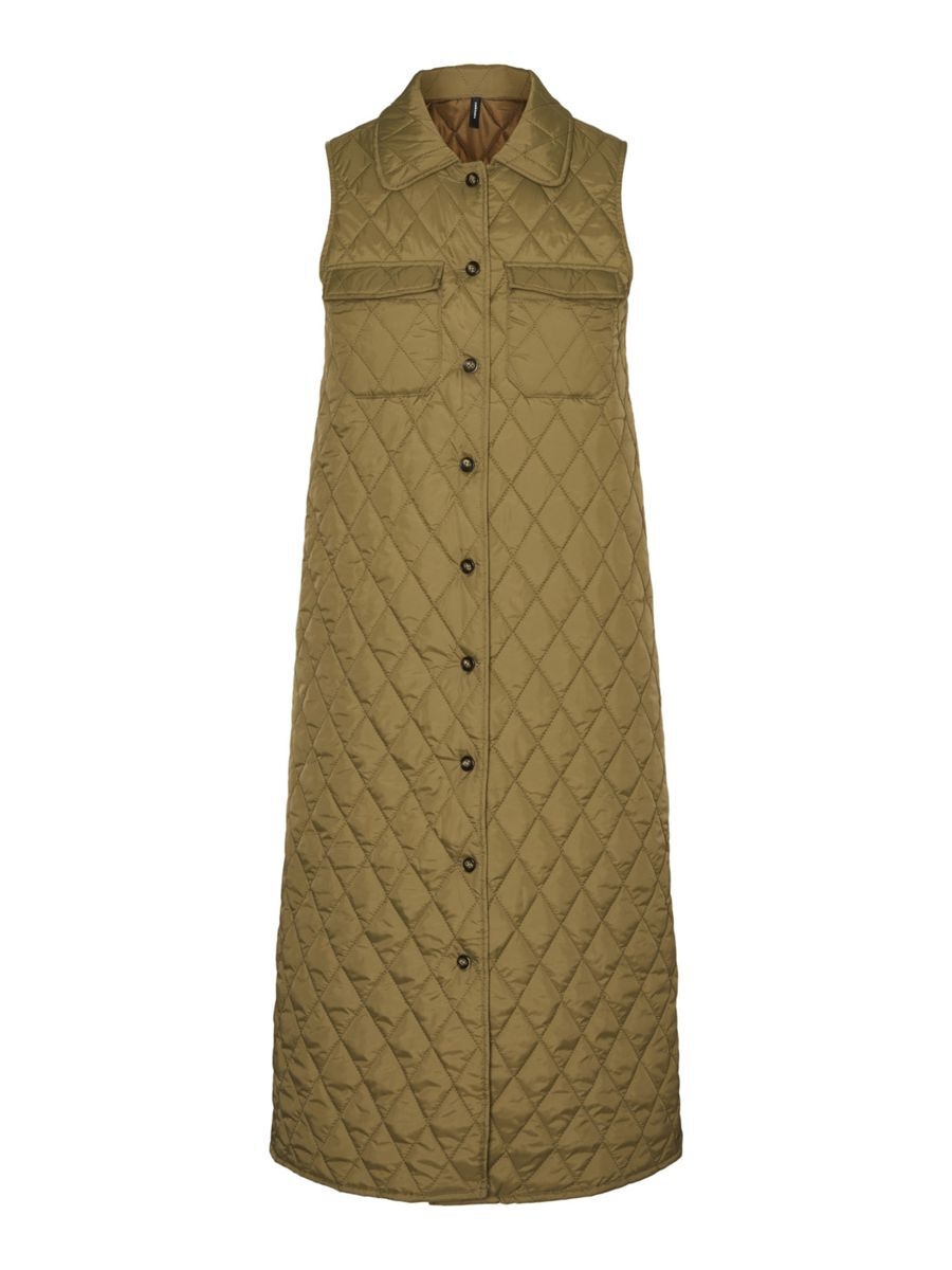 Vero Moda Long Quilted Gilet Dames Green