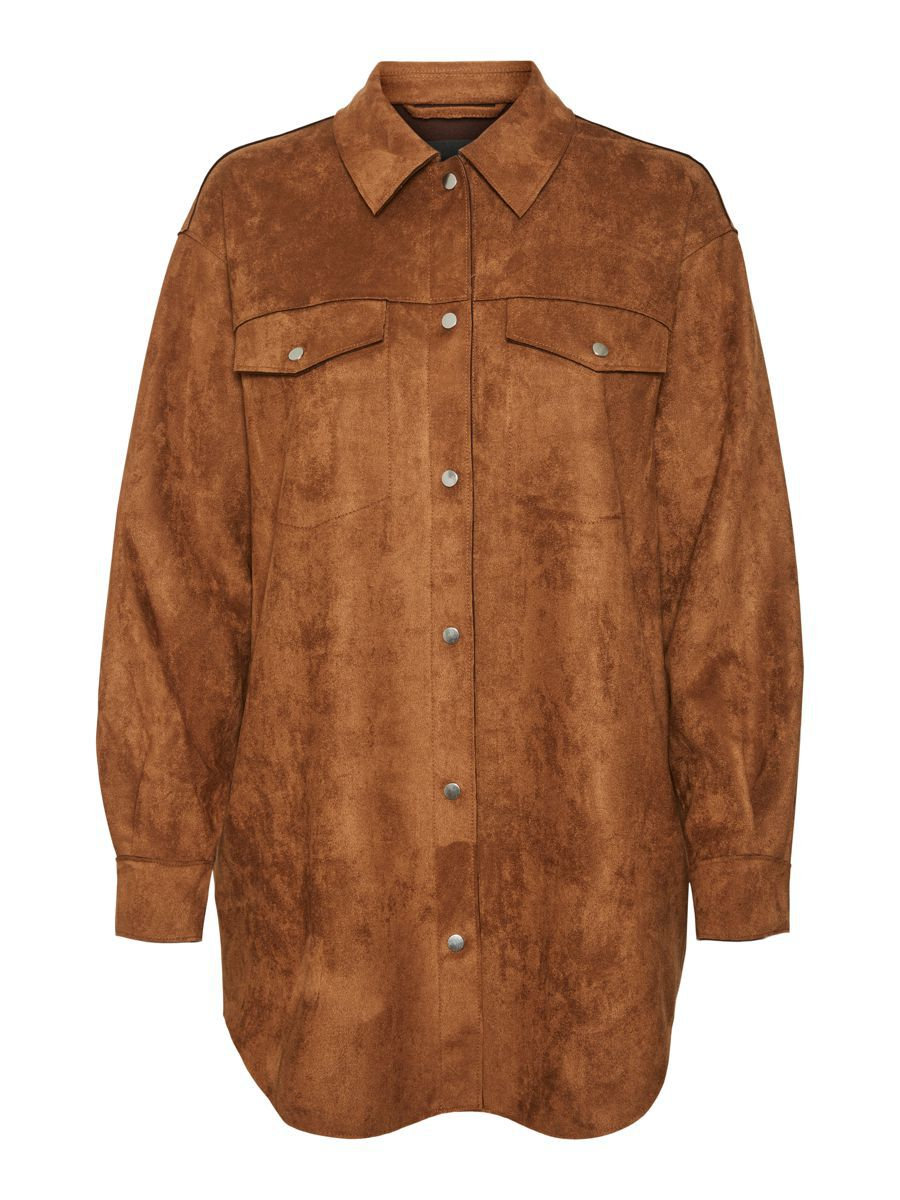 Faux Suede Shirt Jacket Rood