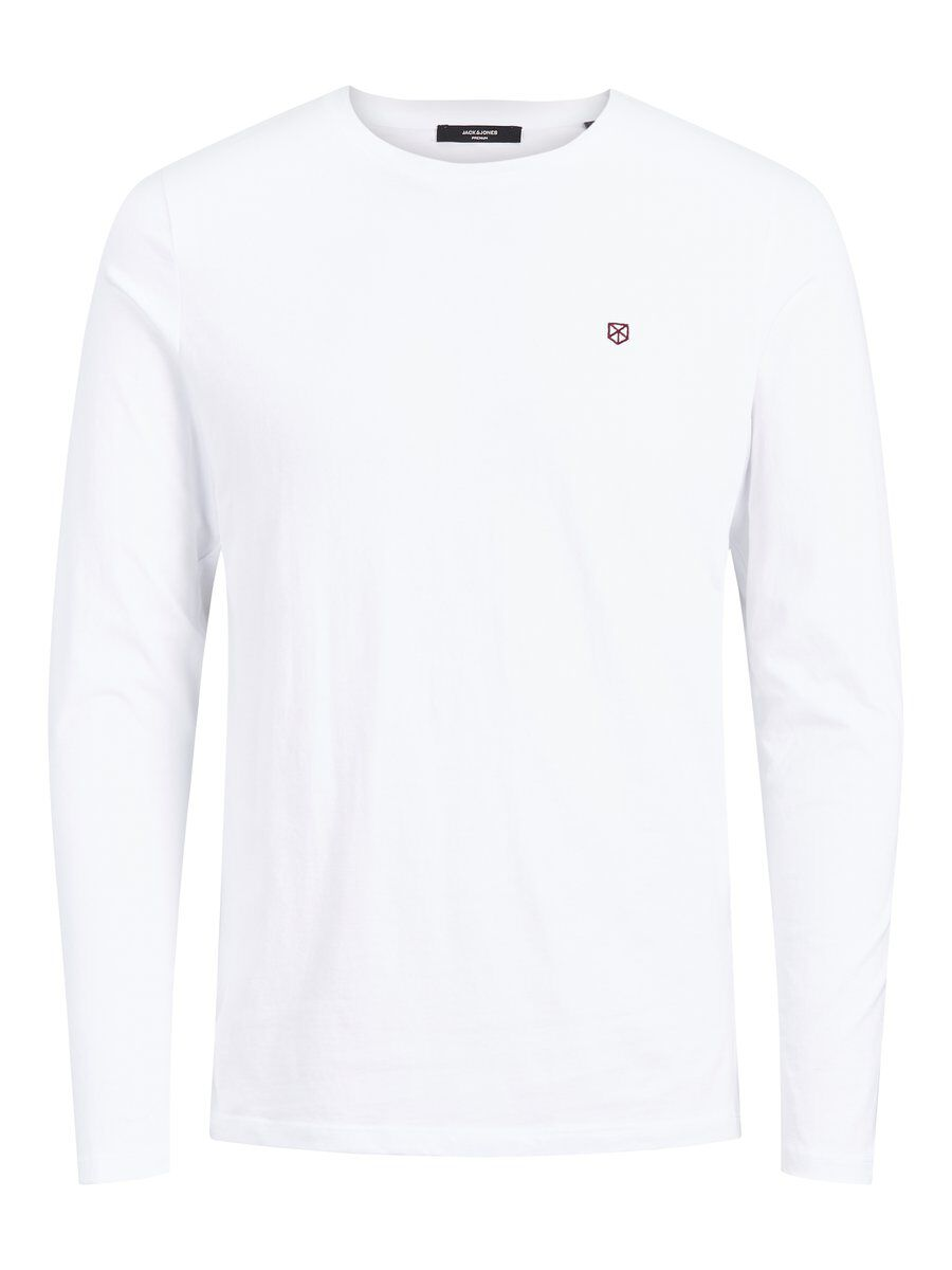 JACK & JONES Power Bla. Tee Ls Crew Neck 4 Fst Long-sleeved T-shirt Men White