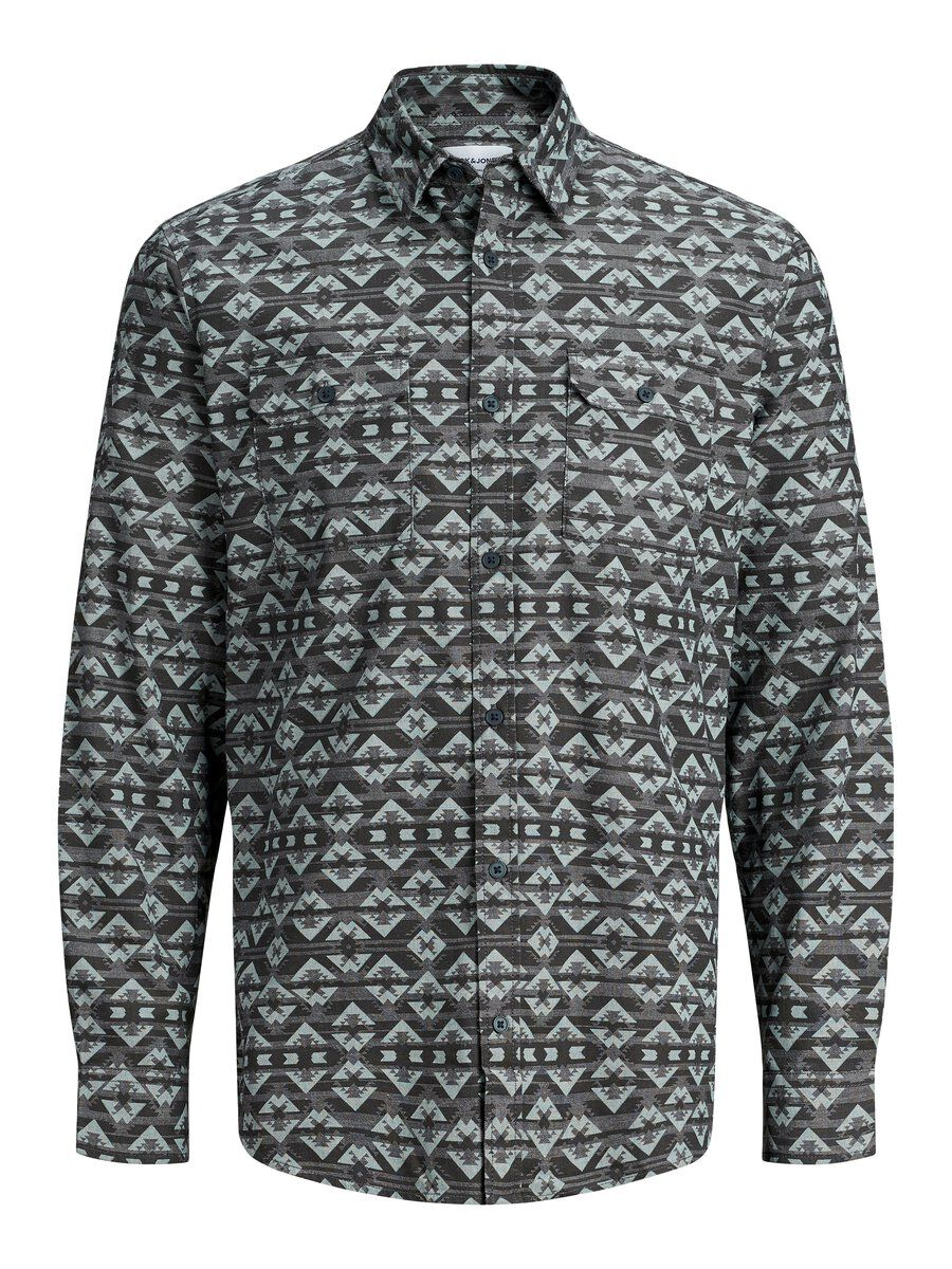 Image of JACK & JONES All-over-print Kortærmet Skjorte Mænd Grå (25011891907)