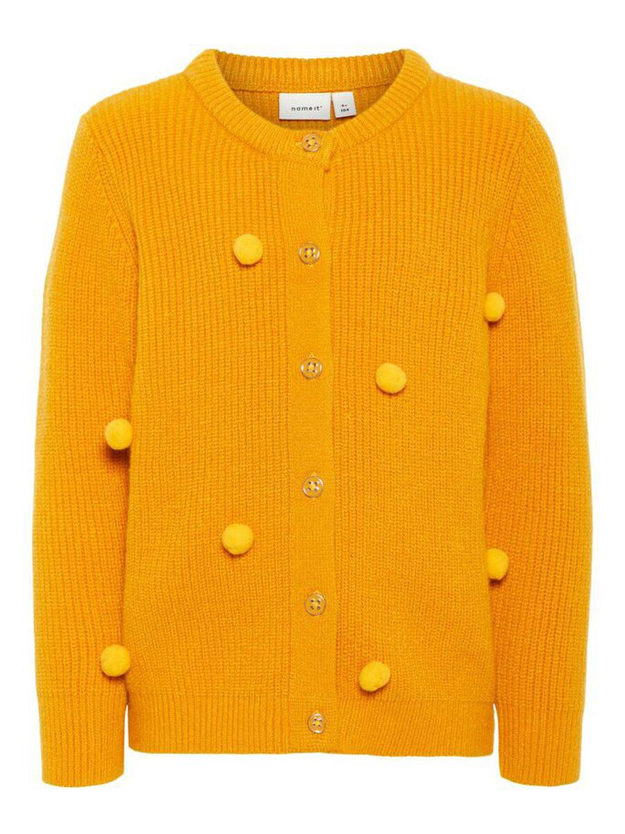 NAME IT Pom Pom Embellished Knitted Cardigan Women Yellow