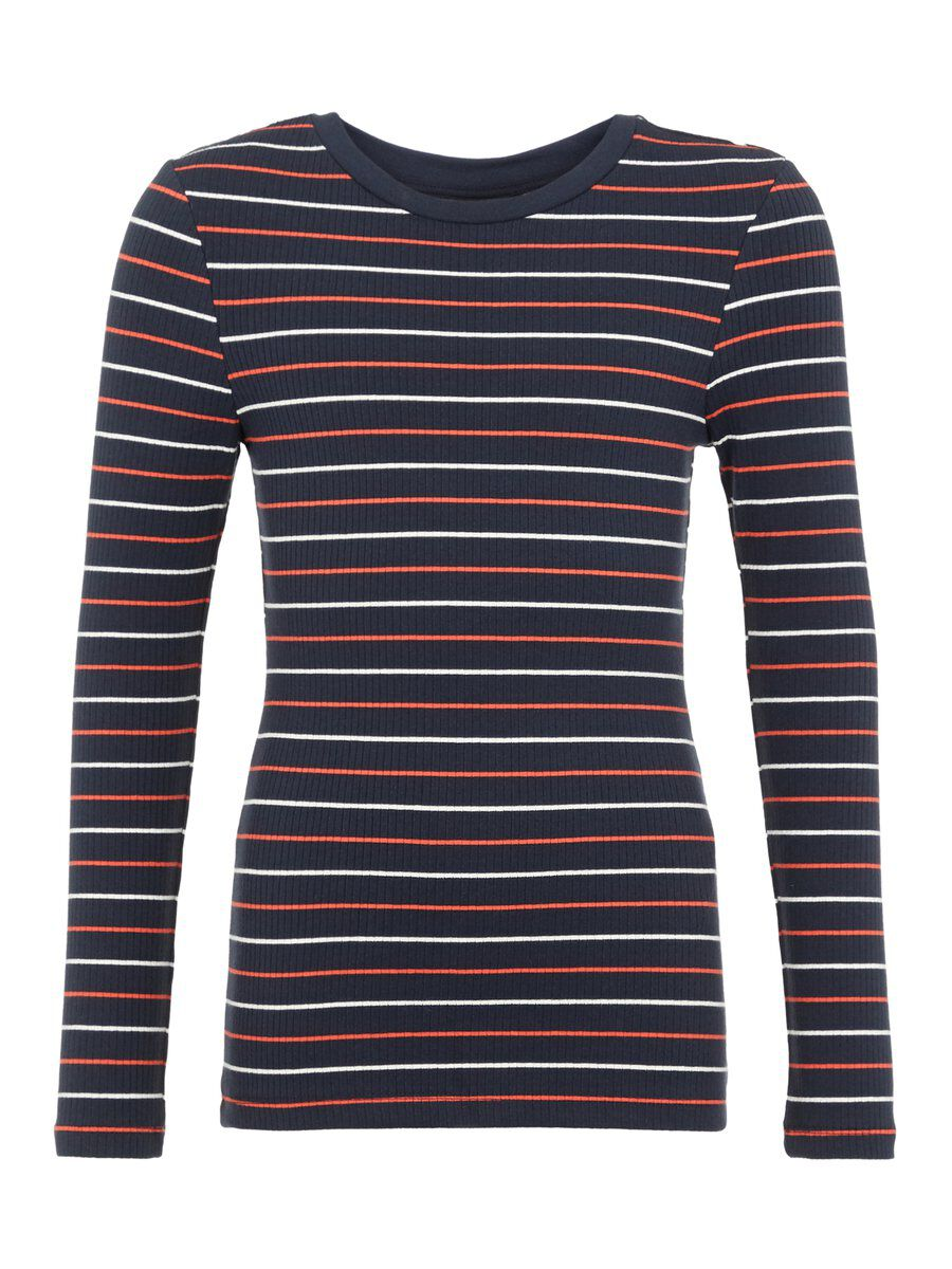 NAME IT Striped Slim Fit Long-sleeved T-shirt Women White
