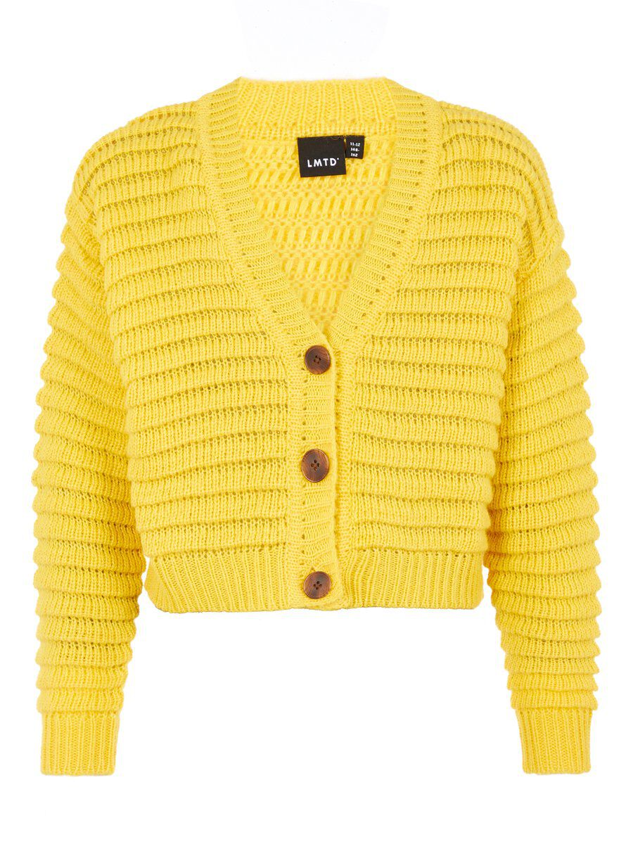 NAME IT Cropped Knitted Cardigan Women Yellow