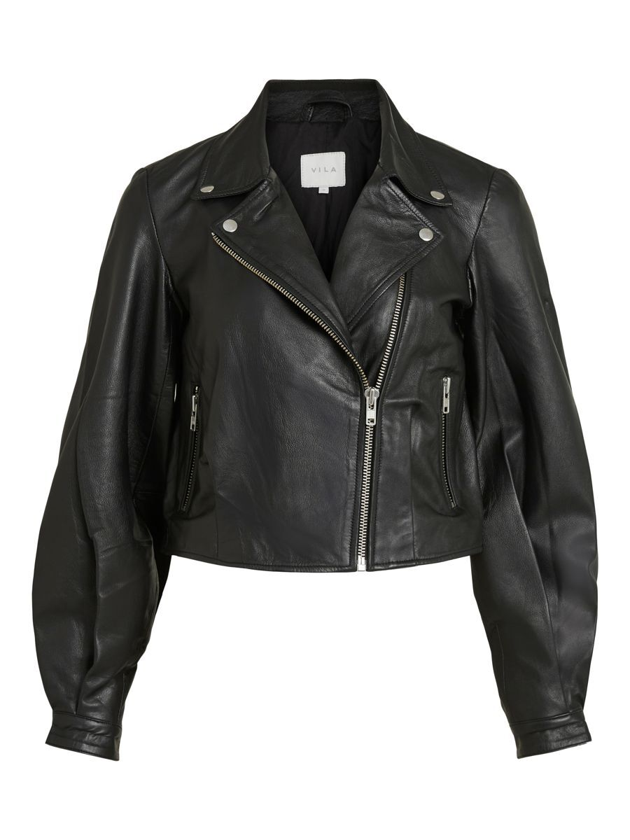 Vila Balloon Sleeved Leather Jacket Dames Zwart