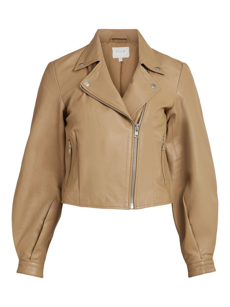 Vila Balloon Sleeved Leather Jacket Dames Bruin