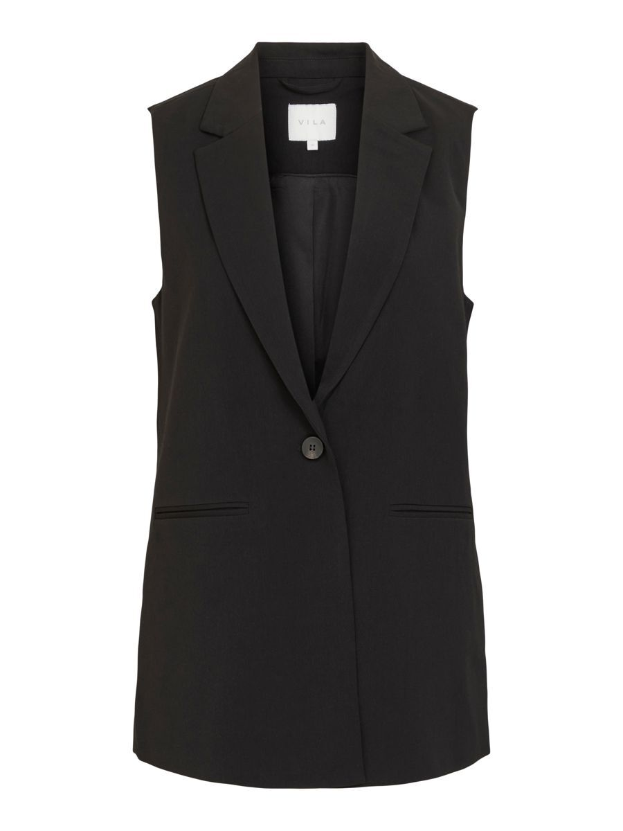 Vila Single-breasted Waistcoat Dames Zwart
