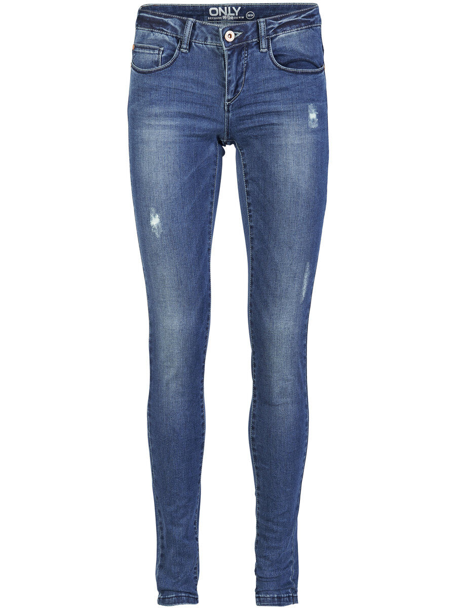 ONLY Onlcoral Superlow Destroyed Skinny Fit Jeans Damen Blau