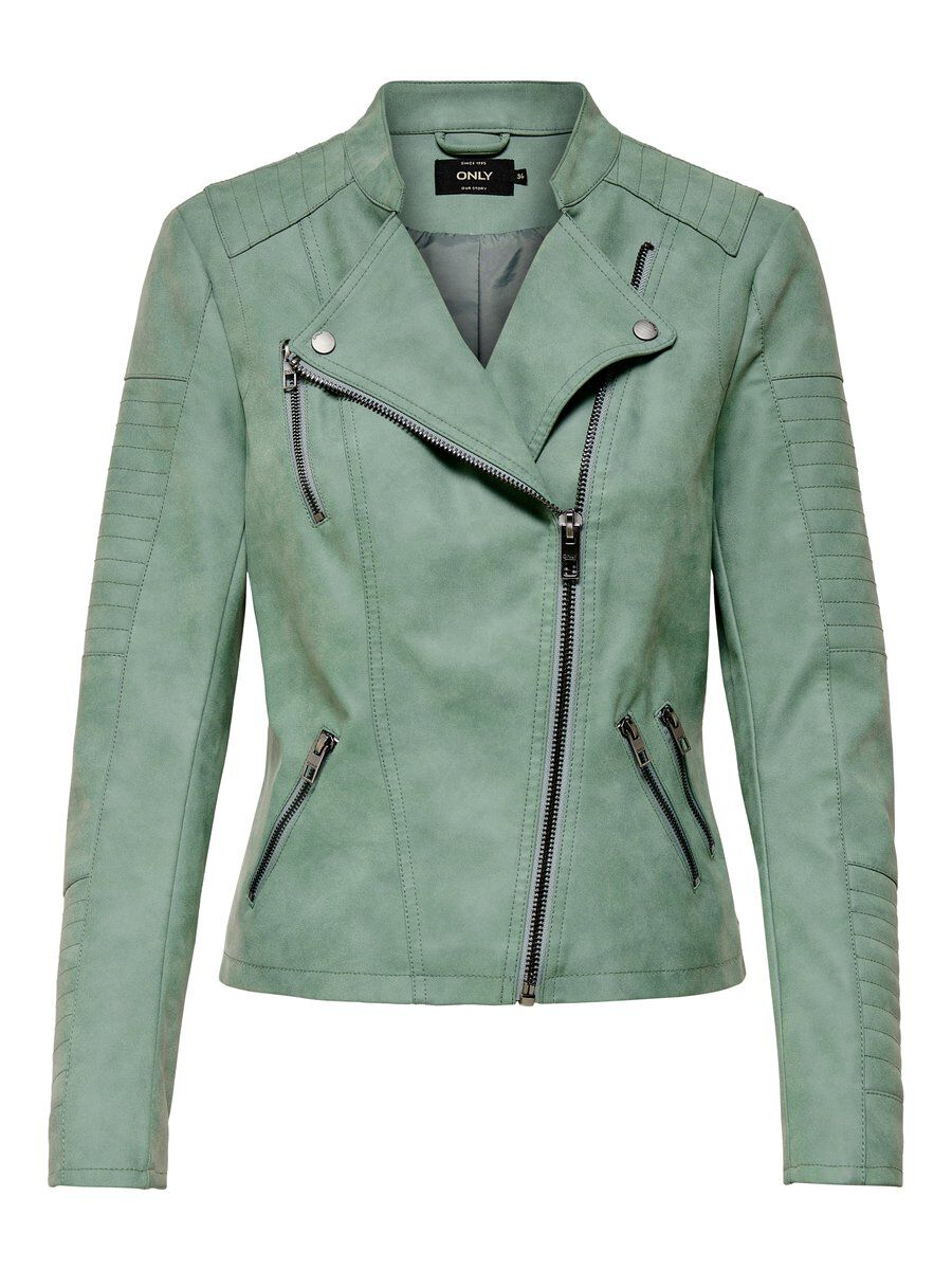 ONLY Leder-look Jacke Damen Grün