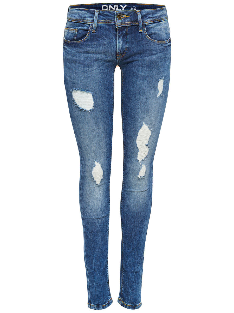 ONLY Coral Destroyed-effekt- Skinny Fit Jeans Damen Blau