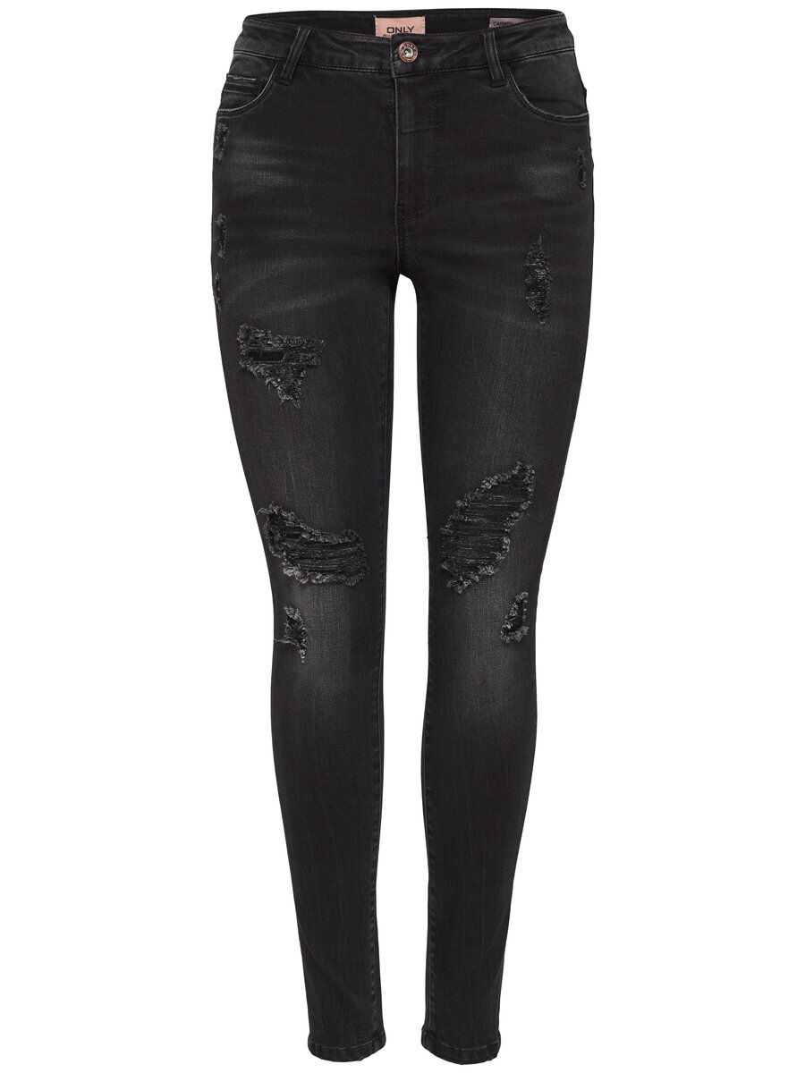 ONLY Onlcarmen Reg Destroyed Skinny Fit Jeans Damen Schwarz