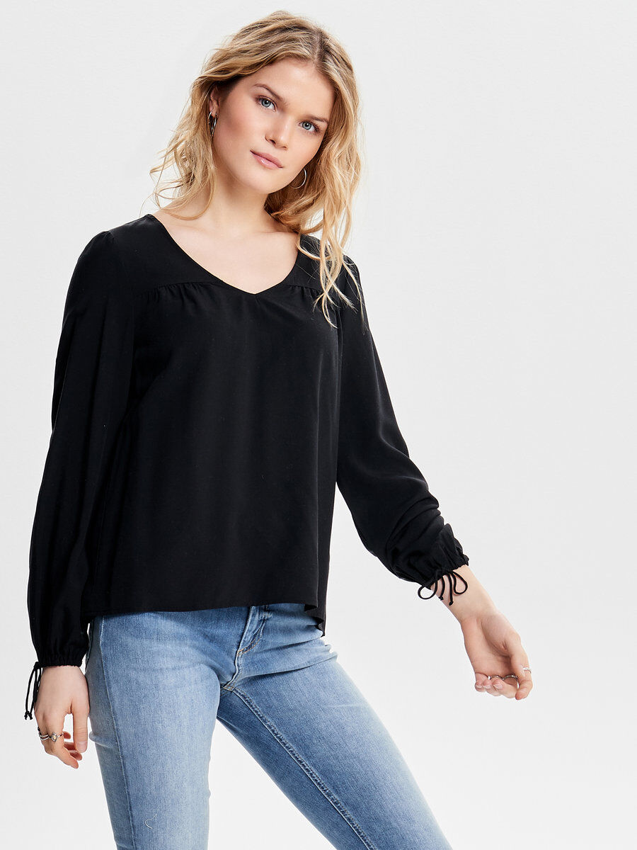 ONLY Solid Long Sleeved Top Women Black