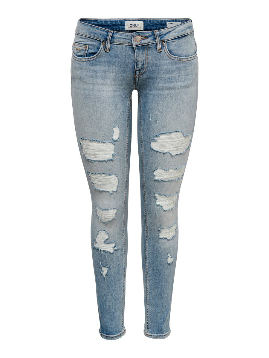 ONLY Onlcoral Low Ankle Destroyed Skinny Fit Jeans Damen Blau