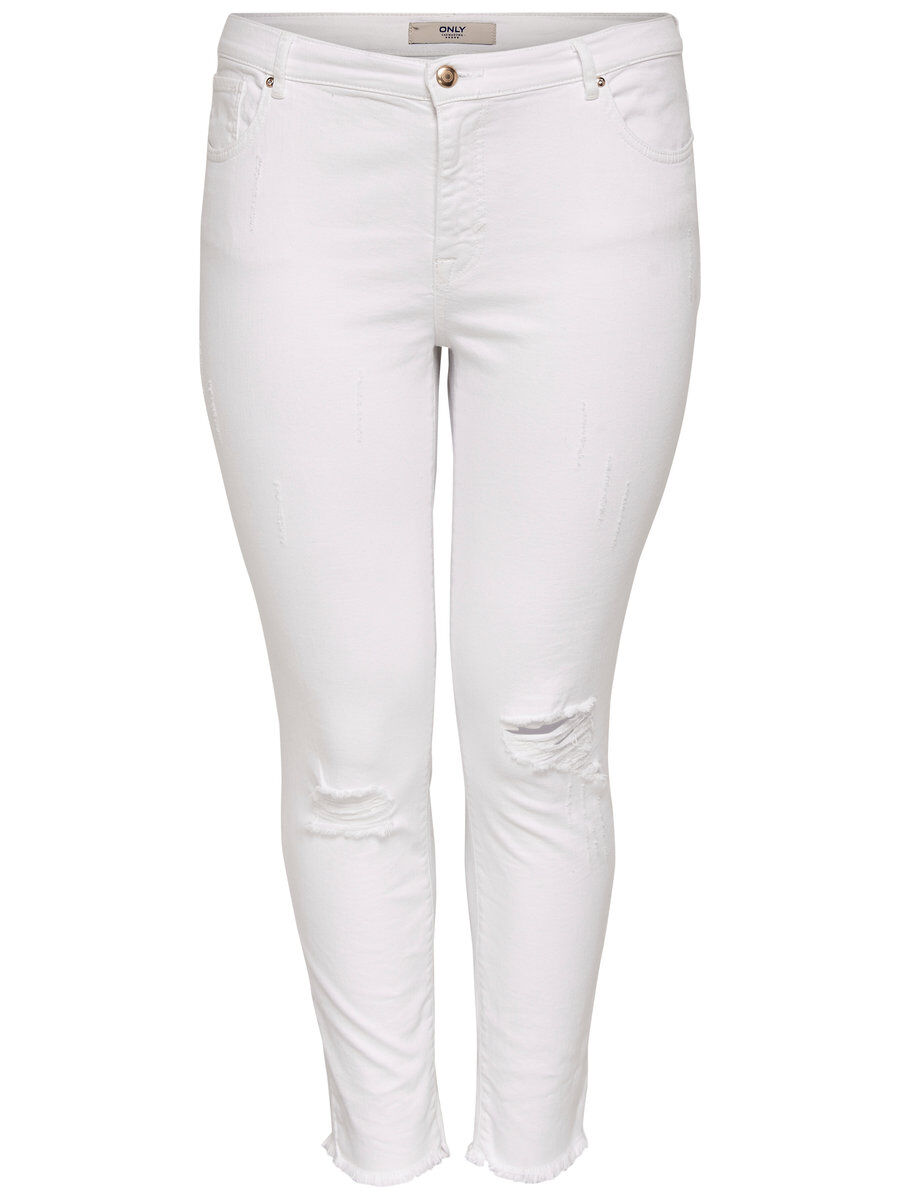 ONLY Curvy Destroyed Slim Fit Jeans Damen White