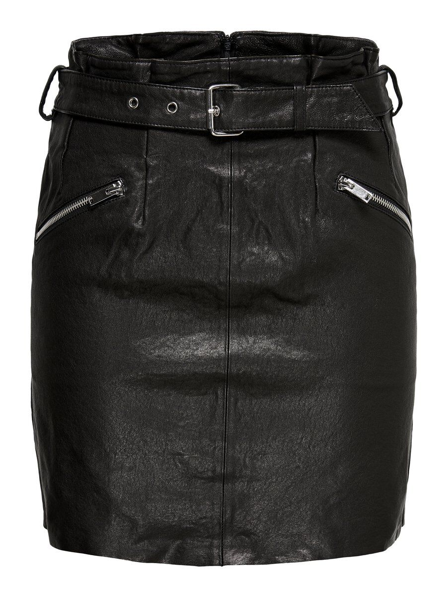 ONLY Leder Rock Damen Schwarz