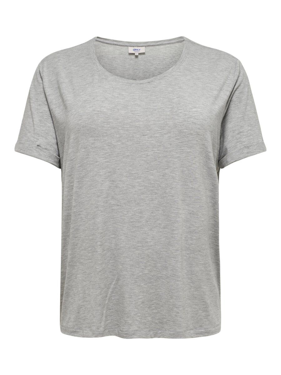 ONLY Curvy Solid Short Sleeved Top Women Grey