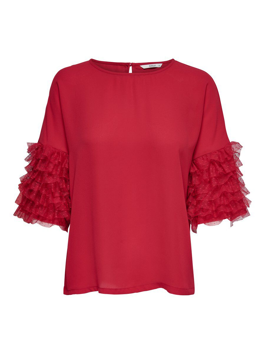 ONLY Frill Short Sleeved Top Women Red