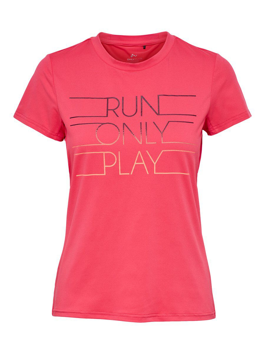 ONLY Print Trainingsshirt Damen Pink | Sportbekleidung > Sportshirts > Funktionsshirts | Pink | ONLY