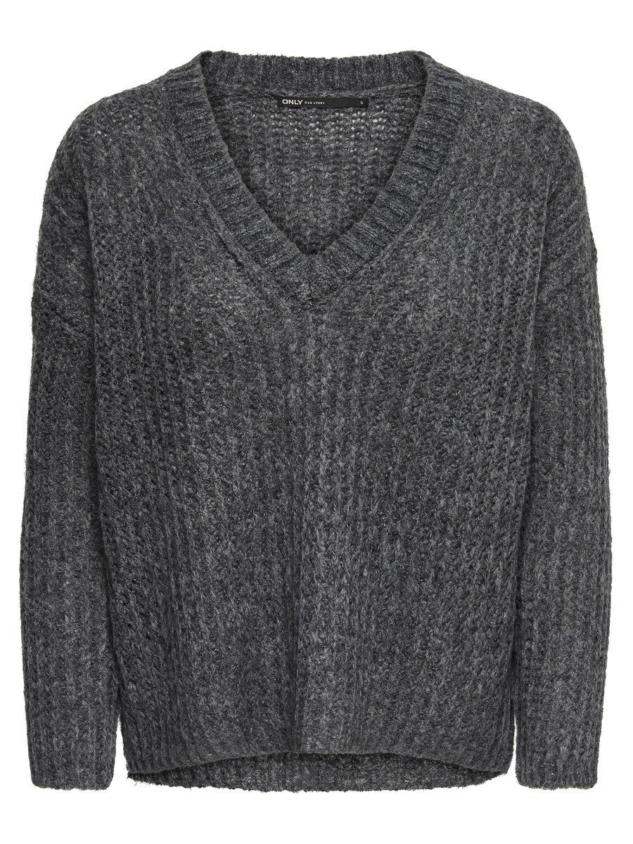 ONLY Woll Strickpullover Damen Grau