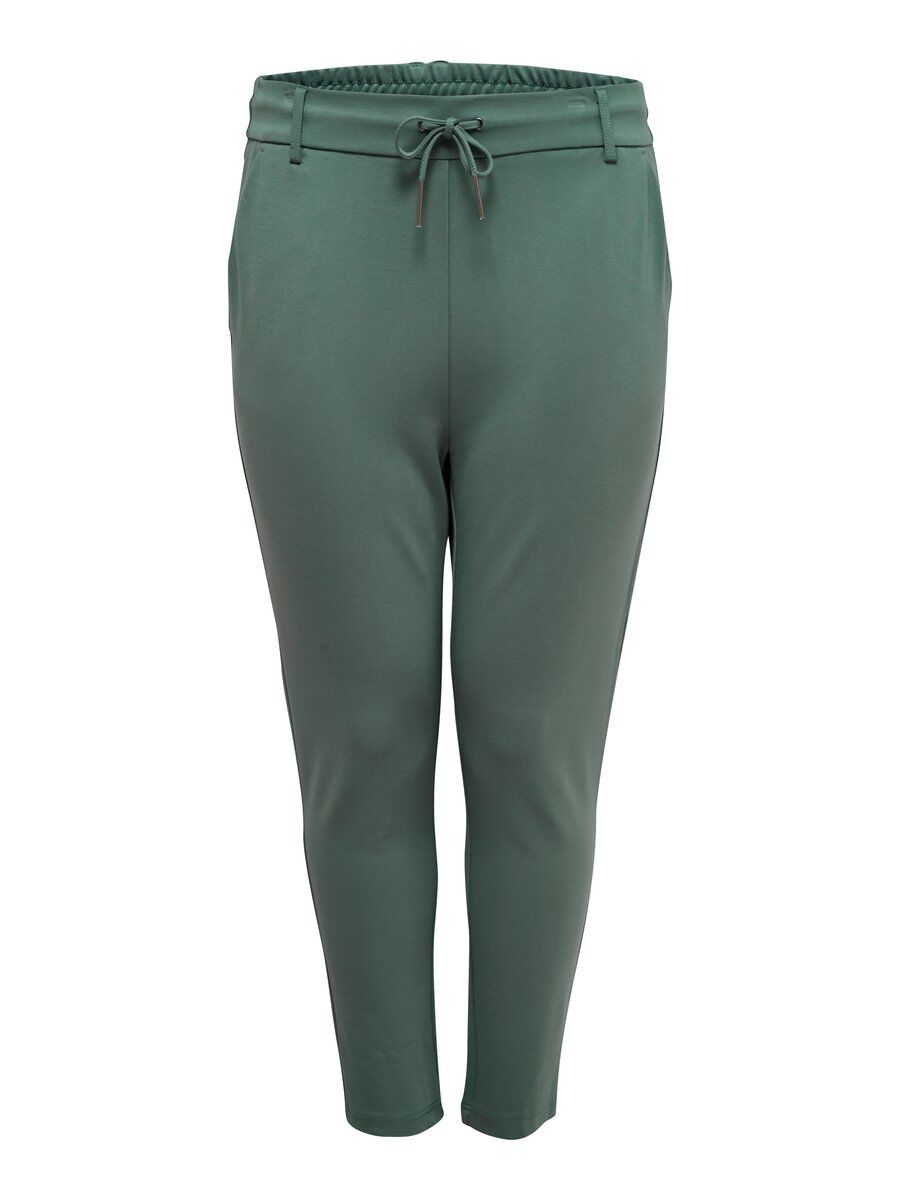 ONLY Curvy Solid Trousers Women Green