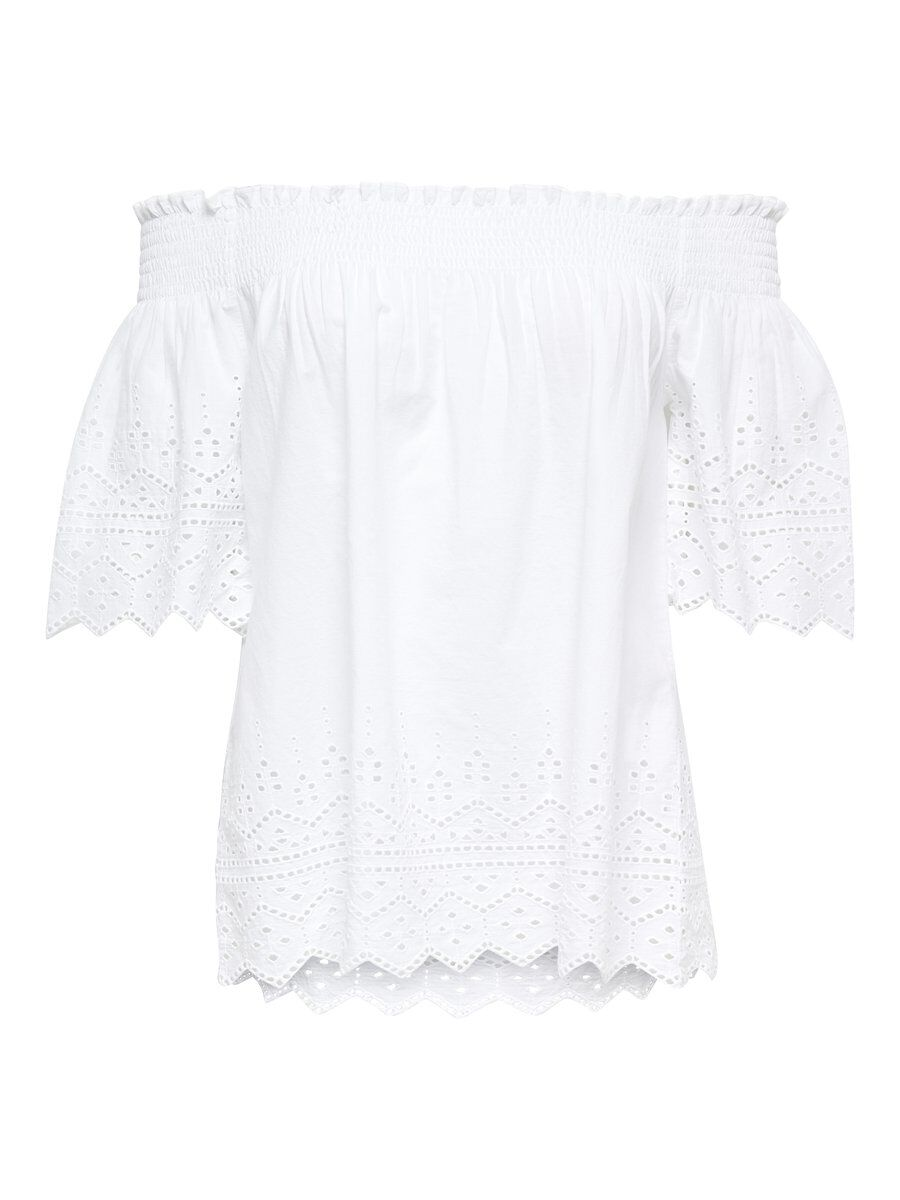 ONLY Besticktes Off Shoulder Top Damen White