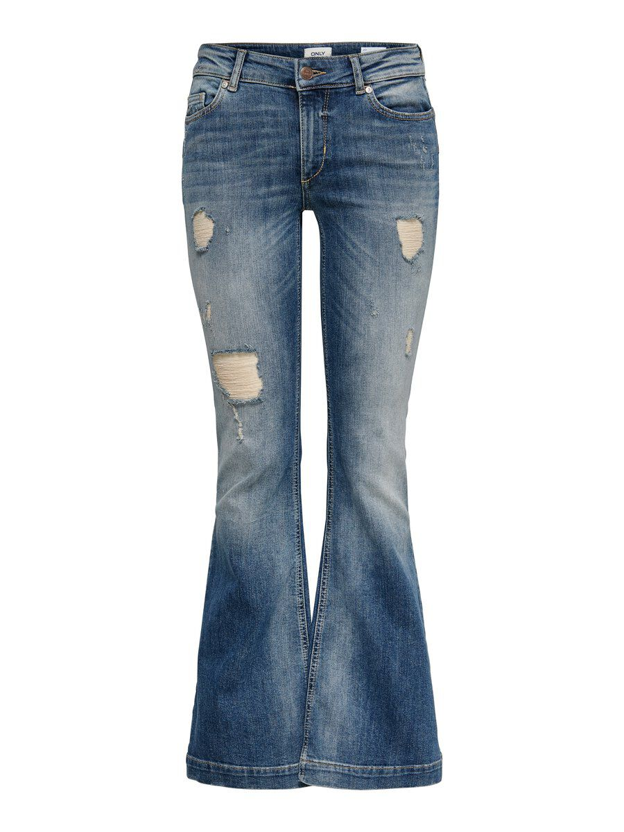ONLY Jo Reg Destroyed Flared Jeans Damen Blau