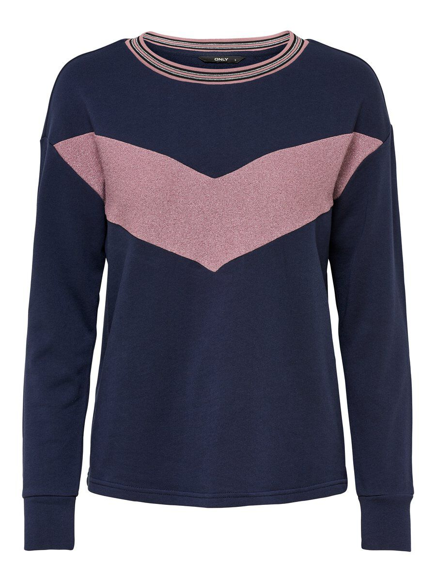 ONLY Glitzer Sweatshirt Damen Blau