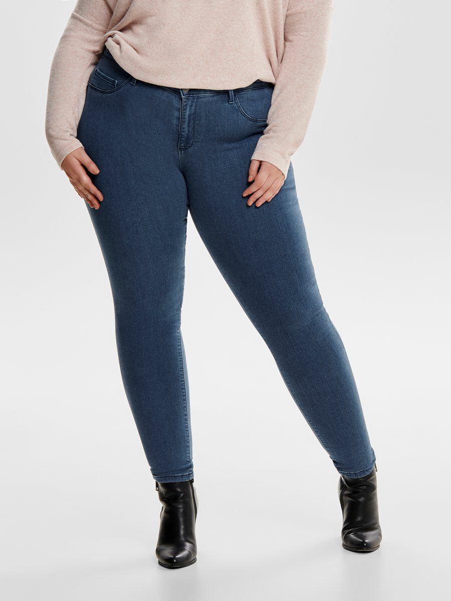 ONLY Curvy Thunder Push Reg Skinny Fit Jeans Damen Blau