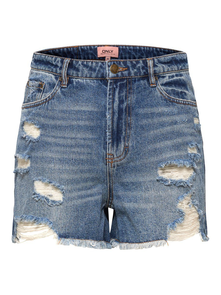ONLY Kelly Destroyed Jeansshorts Damen Blau