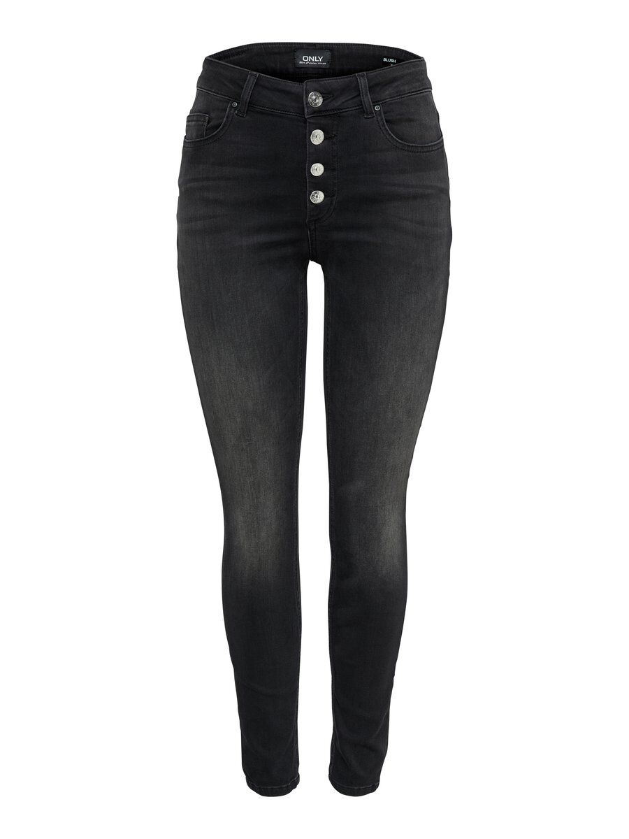 ONLY Onlblush Hw Button Skinny Fit Jeans Damen Schwarz
