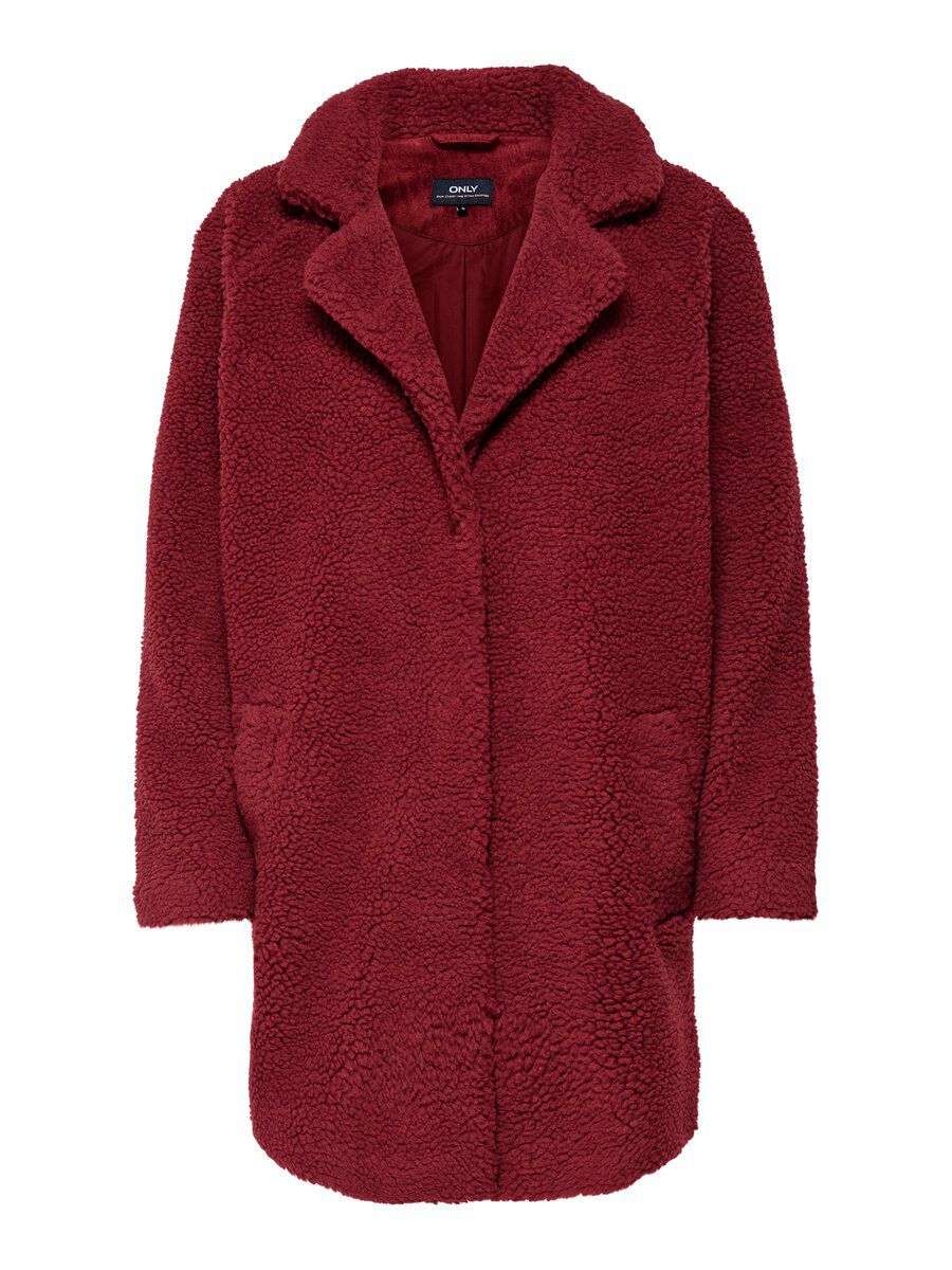 ONLY Sherpa Mantel Damen Brown; Red