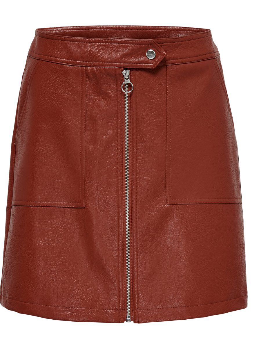 ONLY Kunstleder Rock Damen Rot
