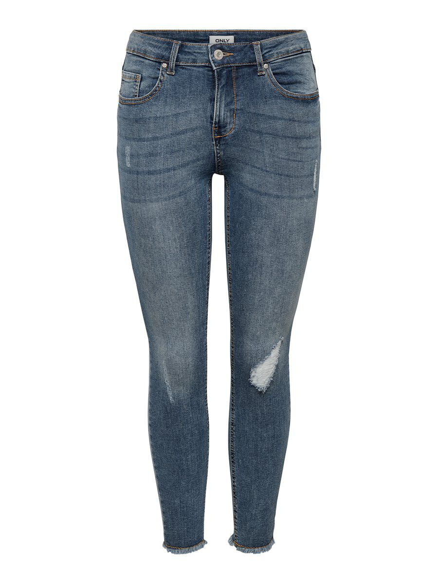 ONLY Onlhush Mid Ankle Skinny Fit Jeans Damen Blau