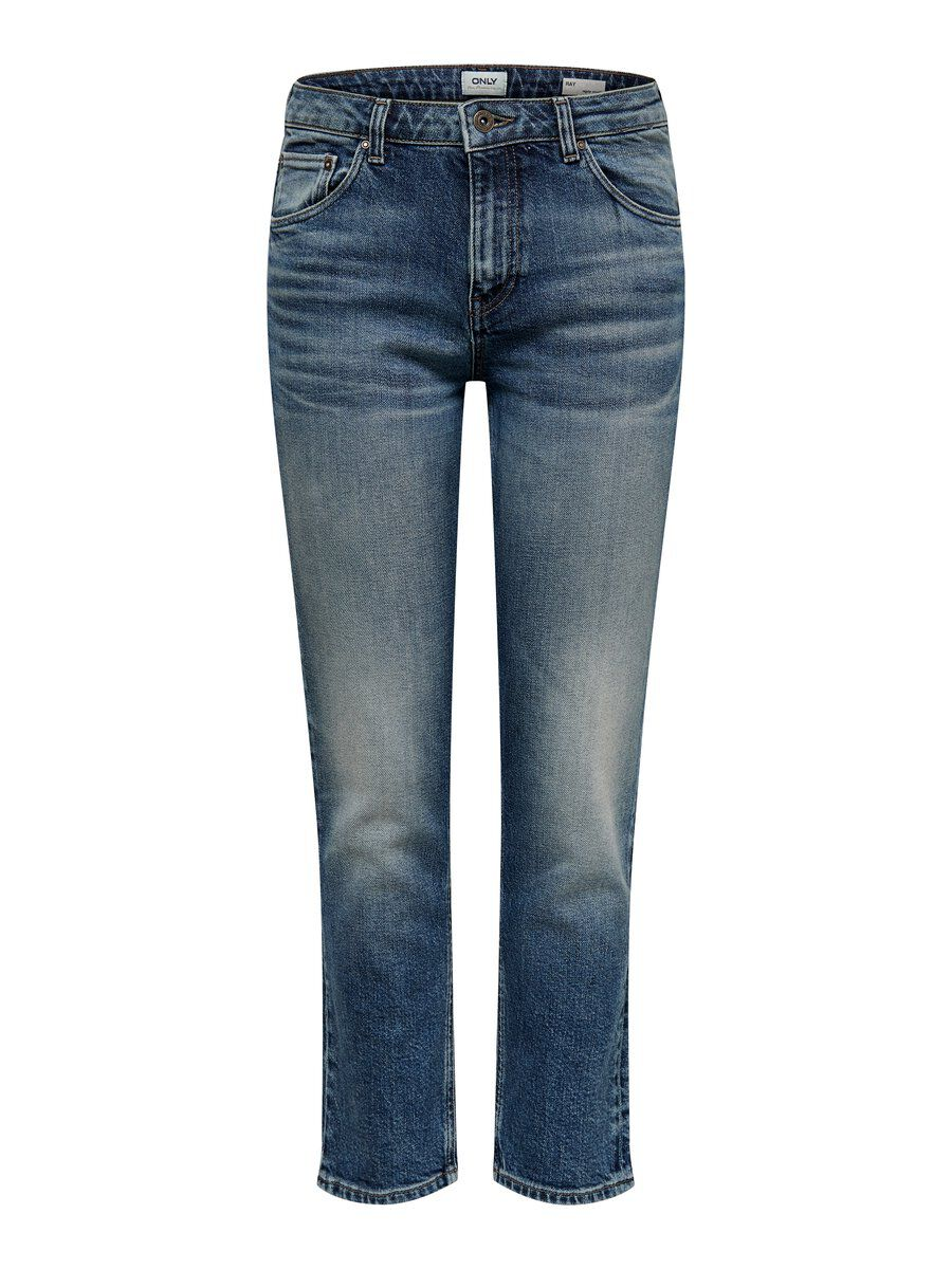 ONLY Onlray Mid Cropped Straight Fit Jeans Damen Blau
