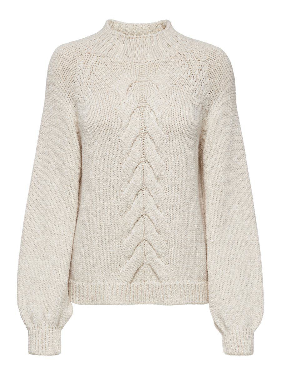 ONLY Zopfmuster Strickpullover Damen White