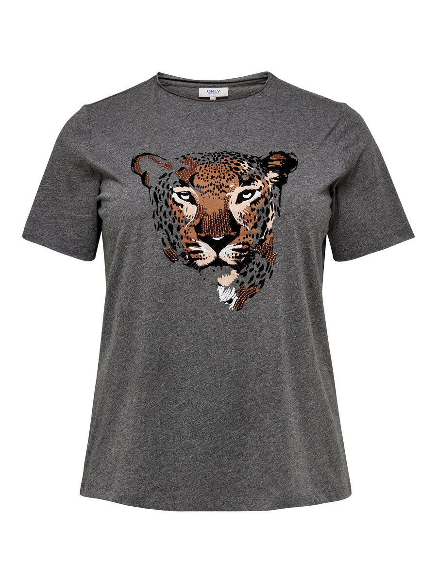 ONLY Curvy Tiger T-shirt Damen Grau