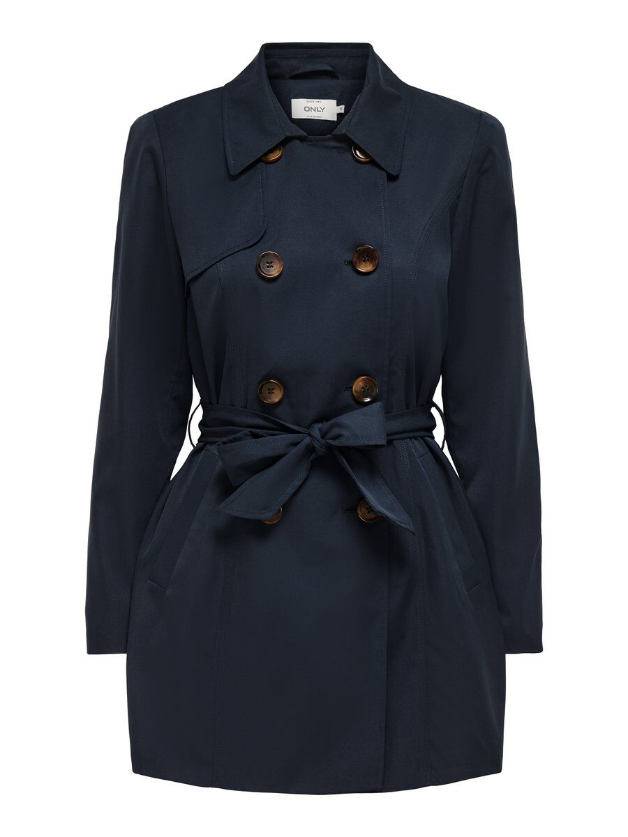 Only Double-breasted Trenchcoat Dames Blauw