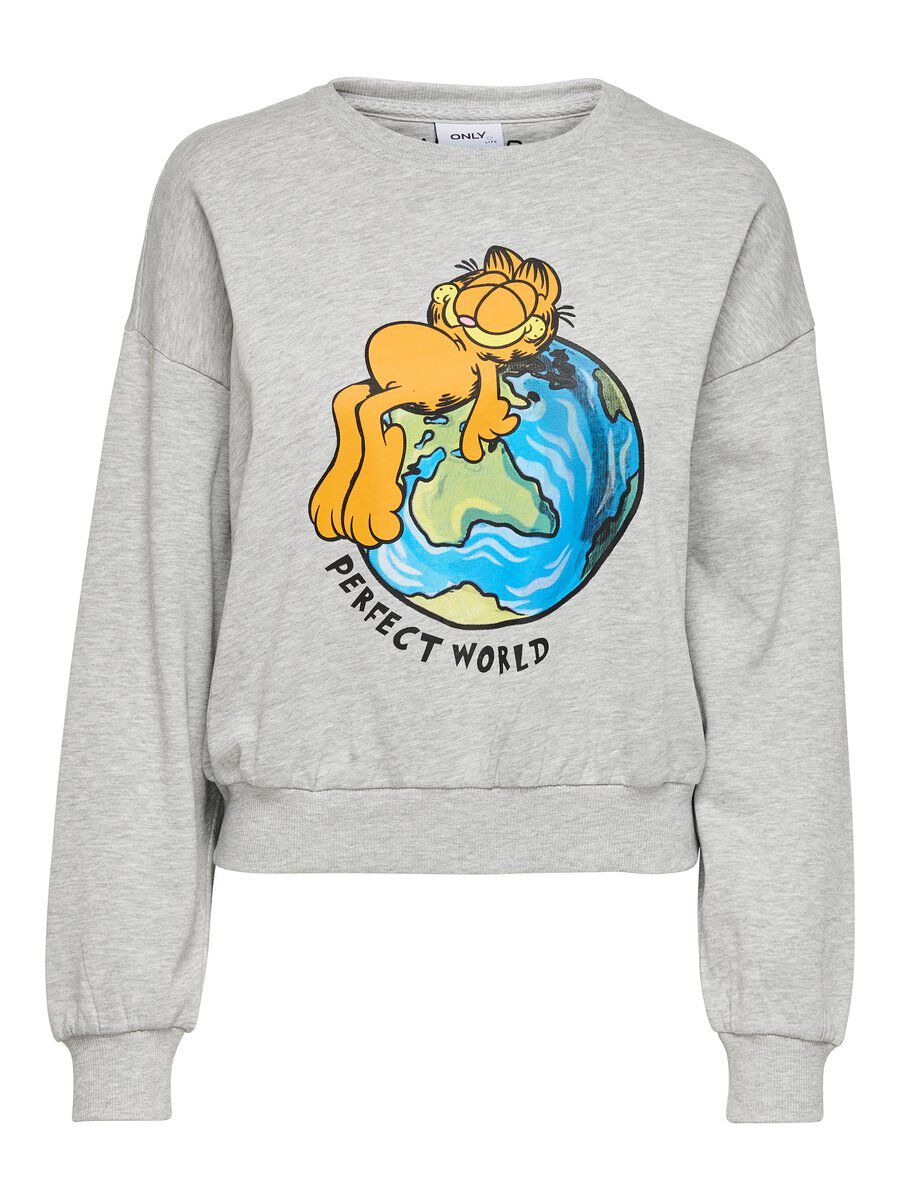 ONLY Garfield Sweatshirt Damen Grau