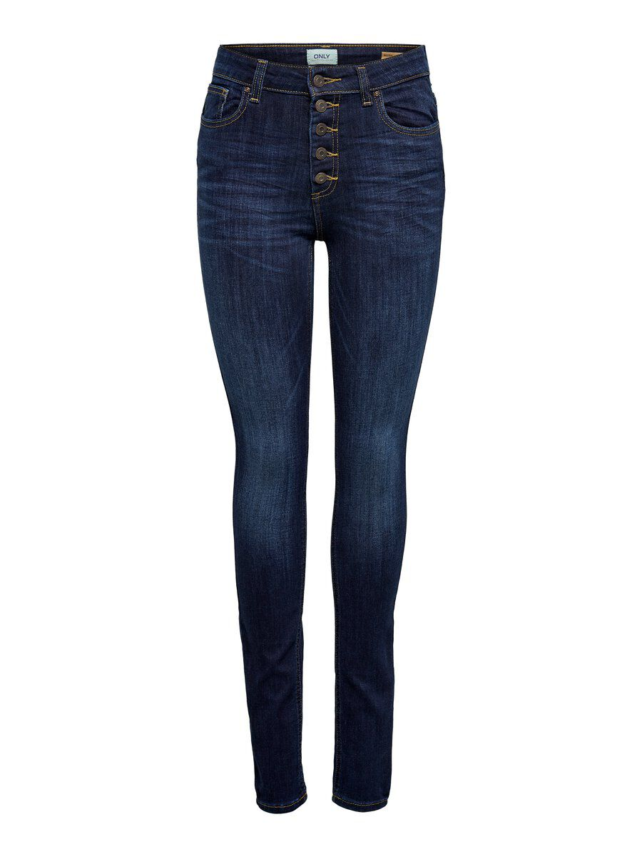 ONLY Onlhush Hw Button Skinny Fit Jeans Damen Blau