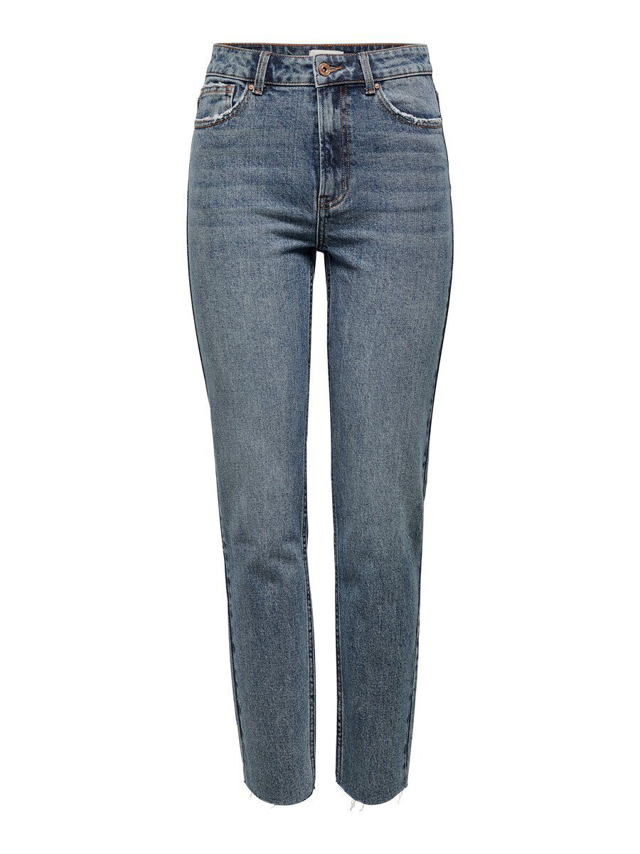 ONLY Onlemily Hw Raw Ankle Straight Fit Jeans Damen Blau