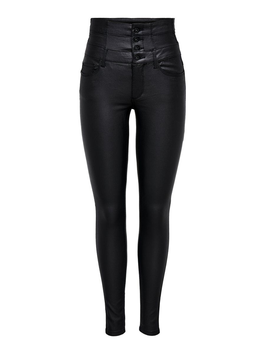 ONLY Onlcoral Corsage Rock Coated Skinny Fit Jeans Damen Schwarz