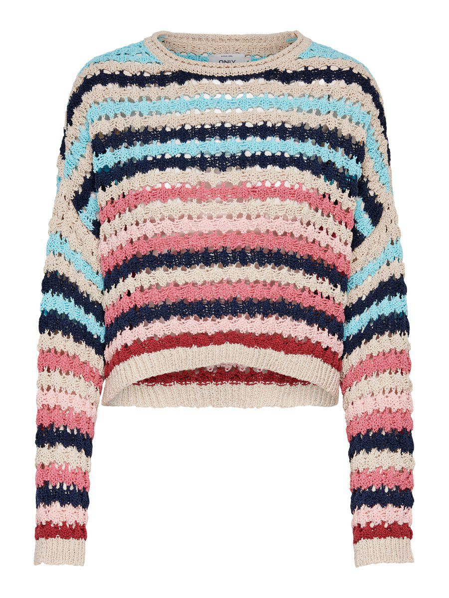 ONLY Striped Knitted Pullover Damen Beige